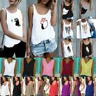 Women Cami Print Summer Vest Tank Top T-shirt Ladies Casual Loose Tops Blouse US