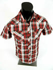 Mens Western Heritage Short Sleeve Red Plaid Shirt Snap Pockets 96