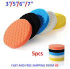 5Pcs 3/5/6/7 inch Buffing Sponge Polishing Pad Kit Waxing Car Auto Polisher Use