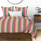 Persian Ethnic Tribal Abstract Boho Stripes Sateen Duvet Cover by Roostery image