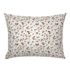 Fall Autumn Rust Orange Flowers Floral Branches Pillow Sham by Roostery image