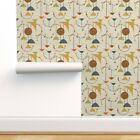 Removable Water-Activated Wallpaper Mod Planets Mid Century Space Retro 1950S