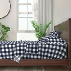 Navy Blue Gingham Plaid Buffalo Check 100% Cotton Sateen Sheet Set by Roostery