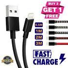Long USB Cable Lead Quick Charger Data Charging For iPhone 6s 7...