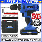 21V CORDLESS COMBI DRILL DRIVER ELECTRIC POWER SCREWDRIVER WITH BITS SET+BATTERY