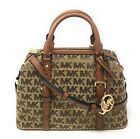 Michael Kors Ginger Small Duffle Satchel Leather Signature Canvas Crossbody Bag
