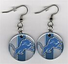 "Detroit Lions 1"" Button Dangle Fish Hook Earrings - FREE Matching Pin NFL $9.99 USD on eBay"