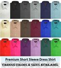 Kyпить Mens Solid Regular fit Premium SHORT SLeeve Dress Shirts, 26 Colors, Size S~5XL на еВаy.соm