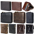 Mens Wallet Genuine Leather RFID Bifold Trifold Wallets Double Zipper Coin Purse image