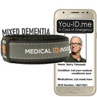 Mixed Dementia Bracelet Medical ID Wristband Identity Alert Emergency Contacts