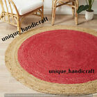 Red Indian Natural Jute Braided Rug Round Rug Decor Dining Floor Living Rug Rags