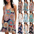 Women Summer Sundress Sleeveless T-Shirt Dress Beach Cover Up Print Tank Dress