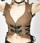 NEW SEXY BROWN VEST TOP XL STEAMPUNK Devil Fashion Goth Pirate Cosplay