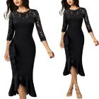 Womens Elegant Lace Ruffles Evening Cocktail Party Bodycon Mermaid Midi Dress