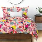 Bloom Flowers Floral Crazy Feminie Leaves Sateen Duvet Cover by Roostery