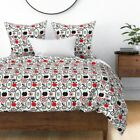 Kitchen Drawing Eggplant Apple Fruit Retro Garden Sateen Duvet Cover by Roostery