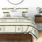 Feed Sack Grainsack Off White Off Black Black Sateen Duvet Cover by Roostery image