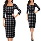Womens Vintage Retro Colorblock Buttons Work Business Office Party Pencil Dress