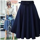 Women Fashion Midi Long High Waist Jeans A-line Denim Flare Party Skirt Dress