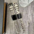 For Apple watch Series 5 44mm Quality White Snake style Leather Watch Strap Band