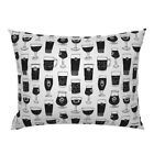 Beer Glasses Man Drink Belgian Black And White Kitchen Pillow Sham by Roostery
