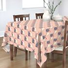 Tablecloth French Bulldogs Kissing Puppy Love Pink Dogs Cotton Sateen