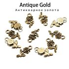20pcs Tibetan Antique Gold Silver Plated Pendants Charms Flower Rose DIY For