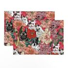 Cloth Placemats Frenchie Floral French Bulldog Dog Lover' Novelty Set of 2