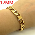 18K Yellow Real Solid Gold Filled New Curb Mens Punk Chain Bracelet Jewellery