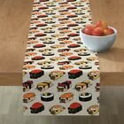 Table Runner Sushi Pug Dog Breed Japanese Food Red Beige Black Cotton Sateen