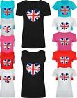 Women Ladies Heart Uk Flag Slogan Print T shirt & Vest Tank Top
