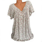 Womens Floral V-Neck Short Sleeve Tunic T-shirt Casual Blouse TeeTops Plus Size