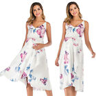 Women Summer Floral Maternity Strappy V-Neck Midi Dress Pregnant Party Sundress