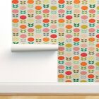 Removable Water-Activated Wallpaper 1960S Kitchen Vintage Flower Mod Modern