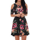 Plus Size Womens Loose Sunflower Midi Dresses Boho Cold Shoulder A Line Sundress