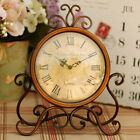 JP_ Vintage Retro Iron Table Clock Home Bedroom Living Room Office Decor Delux