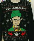 THE OFFICE Dwight FACT CHRISTMAS IS HERE Ugly CHRISTMAS SWEATER Men's L XXL NWT