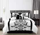 Chezmoi Collection 7-Piece White Black Flocked Floral Comforter Set Or Curtain image