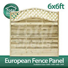 **Pack of 5** European Fence panel 6 x 6 Omega Decorative Lattice Top Tanalised