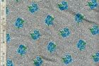"2 yards 33 inches Black & Blue Floral Vintage Cotton fabric 35 1/2""wd"