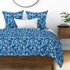 Monochrome Blue Lime Green Watercolors Painting Sateen Duvet Cover by Roostery