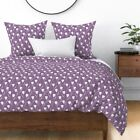 Tulips Spring Purple Flowers Floral Wedding Sateen Duvet Cover by Roostery image