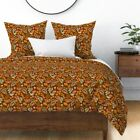 Meadow Flowers Floral Garden Vintage Retro 1950S Sateen Duvet Cover by Roostery image