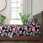 Floral Garden Blue Jungle Passion Navy 100% Cotton Sateen Sheet Set by Roostery image
