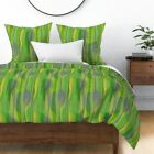Lime Green Chartreuse Mid Century Modern Art Sateen Duvet Cover by Roostery