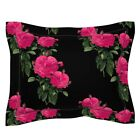 Pink Roses Photography Floral Redoute Black Romantic Pillow Sham by Roostery
