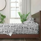 Black And White Cats Illustration 100% Cotton Sateen Sheet Set by Roostery