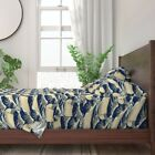 Japan Dog Ocean Illustration Pug Wave 100% Cotton Sateen Sheet Set by Roostery