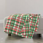Throw Blanket Watercolor Plaid Red And Green Christmas Christmas Plaid 48 x 70in