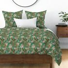 Texture Woven Floral Flower Leaf Sateen Duvet Cover by Roostery image